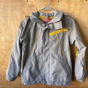 Burtons Kids Ski Jacket Yellow and Gray with Hood